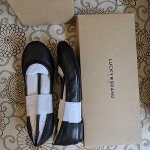 Lucky Brand Black Leather Emmie Flats 6.5 NIB
